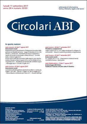 Immagine di Circolari ABI n.32-33 dell'11 settembre 2017